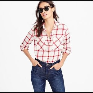 J. CREW | boyfriend shirt vintage red plaid 6
